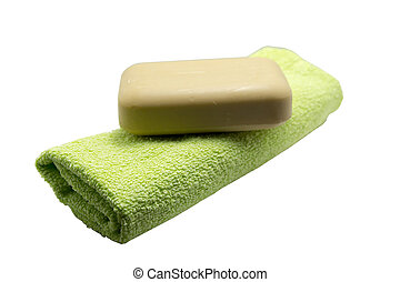 Close-up of a towel with a bar of soap