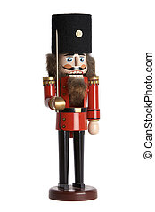 Close up of a traditional nutcracker on white background
