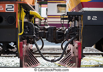 Close up of a Train car coupler joint