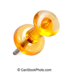close up of a transparent yellow pushpin isolated on white...