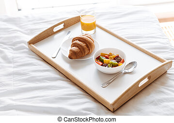 Close up of a tray with healthy breakfast