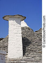 Close up of a Trullo Chimney-pot. Alberobello. Apulia.