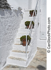 Close up of a Trullo Staircase. Alberobello. Apulia.