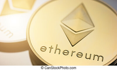 Ethereum coins - Close-up of a two Ethereum coins Digital ...