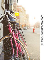 Close up of a Vintage Bike with Copy Space Colorful Blur Background in Autumn. Image for Advertise in Travel or Vacation Concept