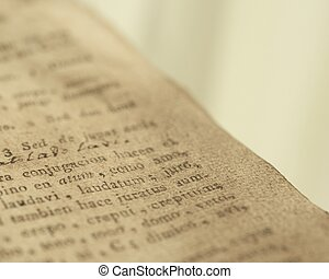 Close-up of a vintage book page.
