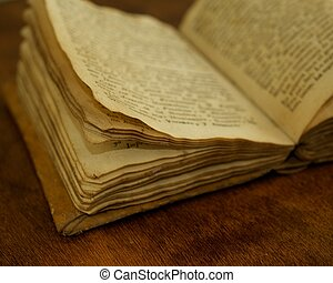 Close-up of a vintage book.