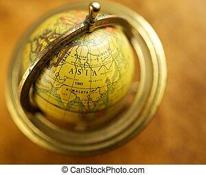 Close-up of a vintage globe.