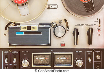 Close up of a vintage tape recorder - Retro styled close up ...