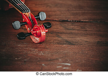 Close up of a violin shallow deep of field with copy space