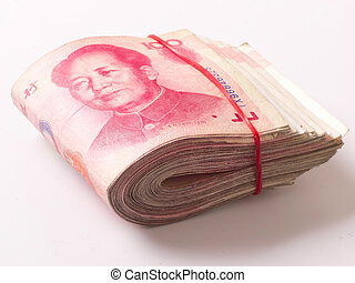 close up of a wad of chinese yuan