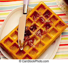 Close-up of a waffle on plate