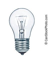close up of a white light bulb