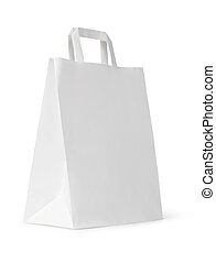 close up of a white paper bag on white background