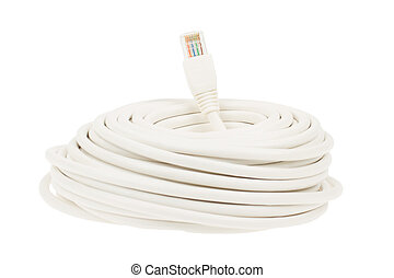 Close-up of a white RJ45 network plug