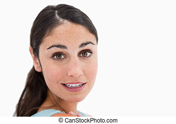 Close up of a woman looking at the camera