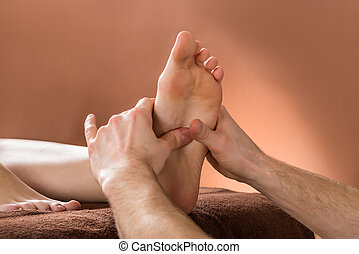 Woman Receiving Foot Massage