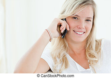 Close up of a woman talking on her phone