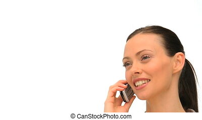 Close up of a woman who is phoning