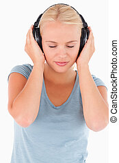 Close up of a woman with headphones