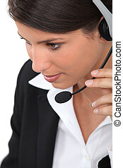 close-up of a woman with headset