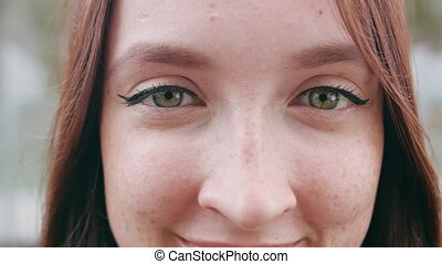 Close-up of a Woman's Eyes - A close-up of a young woman's...