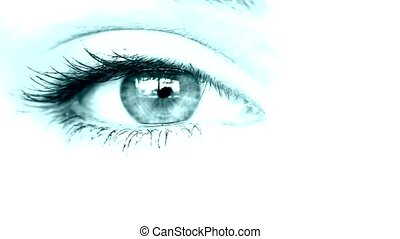 close up of a women's eye - a women's eye close up colorized...
