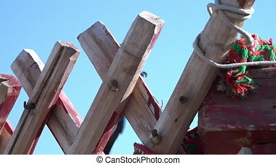 Close-up of a wooden wall frame - A close-up shot of wooden...