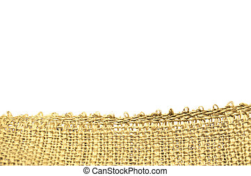 Close up of a yellow burlap isolated on white background