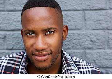 Close up of a young black man