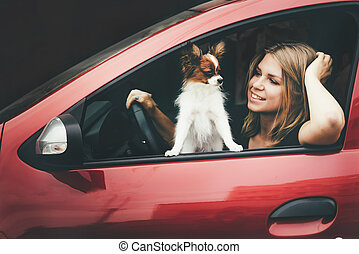 Close-up of a young girl and a white red dog in the car.