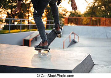 Close up of a young skateboarder