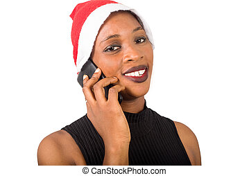 close up of a young woman with phone, happy.