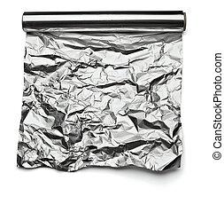aluminum foil - close up of aa aluminum foil on white...