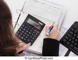 Close-up Of Accountant Woman