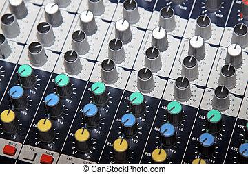 close up of acoustics knob in a music studio