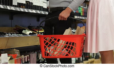 Close-up of adult positive european shoppers