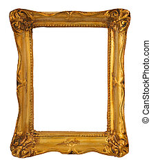 golden frame - close-up of aged golden frame isolated on...