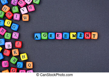 Agreement word on black background
