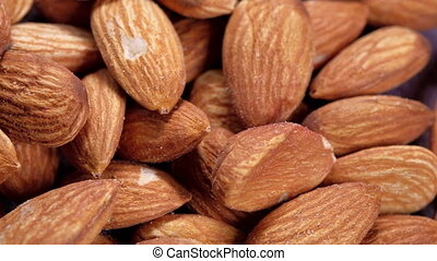 Close up of almond nut isolated on white .