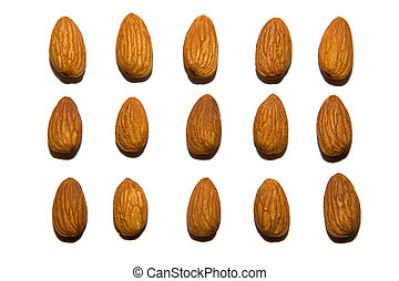 Close-up of almonds. On white background. Isolated.