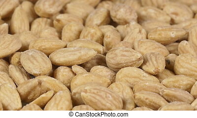 Close-up of almonds rotating