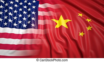 American and Chinese flags - Close-up of American and ...