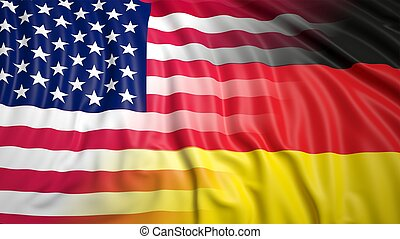 American and German flags - Close-up of American and German ...