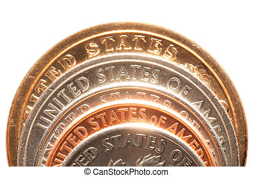 close up of american coins