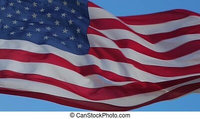 Close up of American flag waving. - USA flag flaping in...