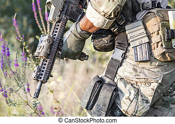 American Soldier uniform on the bushes