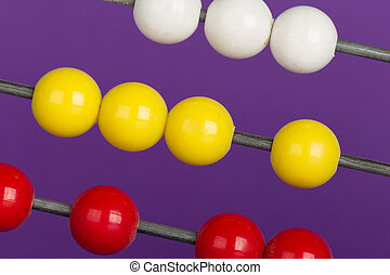 Close-up of an abacus on a purple background