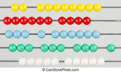 Close-up of an abacus on a white background