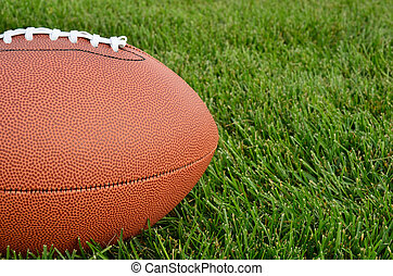 Close up of an American Football on Grass Field